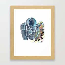 Astronaut with colorful Jellyfish Framed Art Print