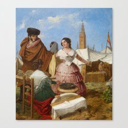 Rafael Benjumea , Courting at a Ring-Shaped Pastry Stall at the Seville Fair 1852 Canvas Print