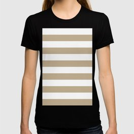 Horizontal Stripes - White and Khaki Brown T-shirt