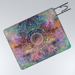Gold watercolor and nebula mandala Picnic Blanket