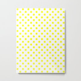 Small Polka Dots - Yellow on White Metal Print