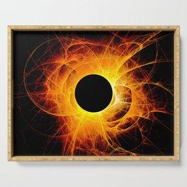 The eye of God  Solar Eclipse on black background Serving Tray
