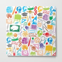 education and school icons background (seamless pattern) Metal Print
