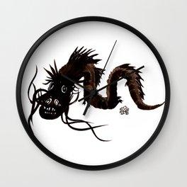 Head first black dragon ink painting Wall Clock