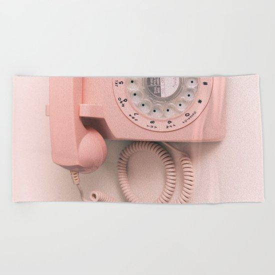 vintage PHONE pink Beach Towel