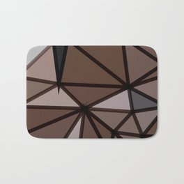 geometric triangle polygon pattern abstract in brown and black Bath Mat