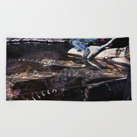 Falling Alligator Tank Of The Funky Newcomer Beach Towel