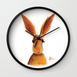 Happy Hare / Rabbit ' GOLDEN JELLY BEAN ' by Shirley MacArthur Wall Clock