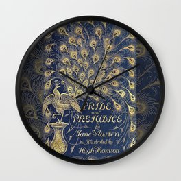 Pride and Prejudice by Jane Austen Vintage Peacock Book Cover Wall Clock