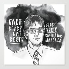 Bears. Beets. Battlestar Galactica. Canvas Print