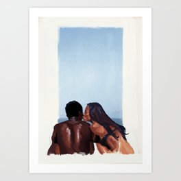 A kiss by the beach Art Print