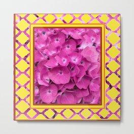 Yellow & Pink Flowers Trellis Art Metal Print