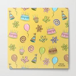 """Birthday"" (Yellow) Metal Print"
