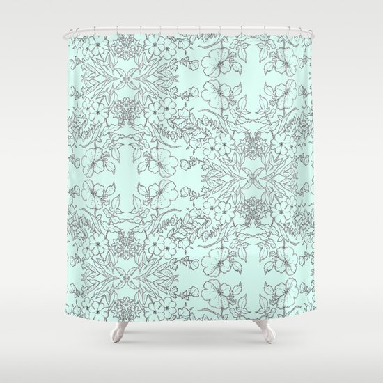 Dotted Floral Scroll In Mint And Grey Shower Curtain By