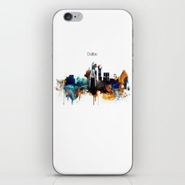 Dallas Texas watercolor print skyline iPhone Skin