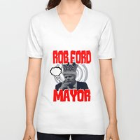 ford V-neck T-shirts featuring ROB FORD by JASONJAMES