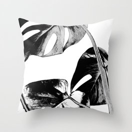 Black monstera leaves watercolor Throw Pillow