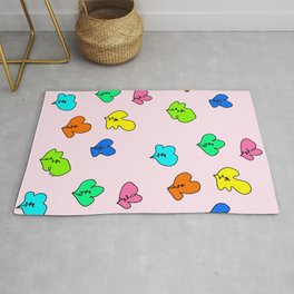 When We Were Small - colorful plants pattern Rug