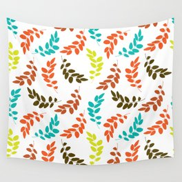 Colorful Leaves, Leaf Pattern - Blue Orange Green Wall Tapestry