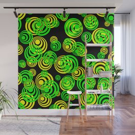 Neon yellow and Green Circles on Black Wall Mural