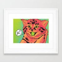 mew Framed Art Prints featuring Mew! by Purrito Press