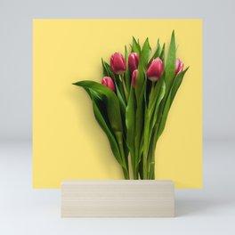 Yellow Bright Light Amber Pink Tulip Blossoms Flatlay Mini Art Print