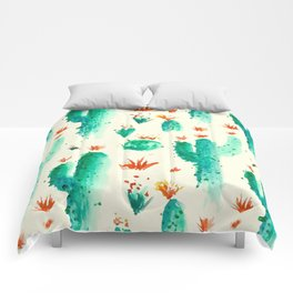 Flowers And Cactus Comforters