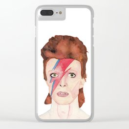 Watercolor David Bowie/ Ziggy Stardust Clear iPhone Case