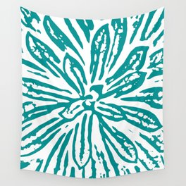 Blue Linocut Flower Textile Wall Tapestry