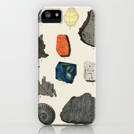 Natural History concept print (1880) by Emil Hochdanz (1816-1855), a collection of colorful gemstone iPhone Case