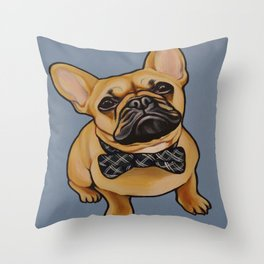 Portrait of a Fawn French Bulldog with a Bow-tie on blue background!  Throw Pillow