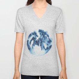 Watercolor Circle Abstract Simple | Blue Blob May 28 Unisex V-Neck