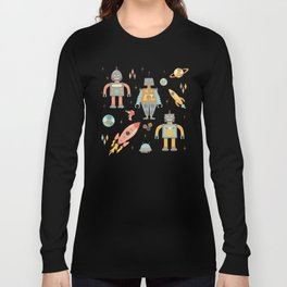 Vintage Inspired Robots in Space Long Sleeve T-shirt