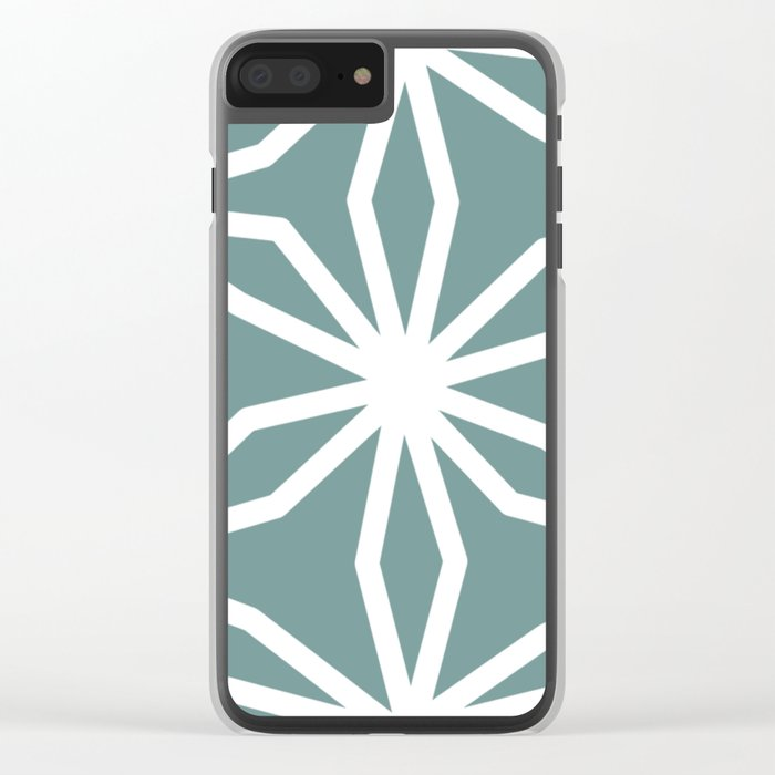 CUBIC FLOWER PATTERN - blue Clear iPhone Case