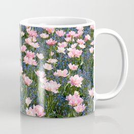 Pink Foxtrot tulips with blue forget-me-nots Coffee Mug