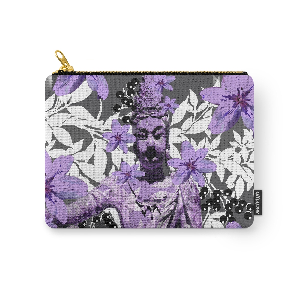 China Antiquities Yesterday Meets Today In Purple And White Carry-All Pouch by saundramyles