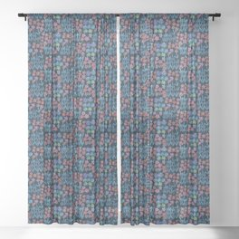 Japanese Washi Design in Blue Sheer Curtain