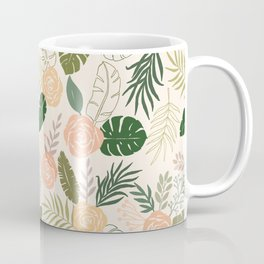Yellow and Green Tropical Floral Pattern Coffee Mug