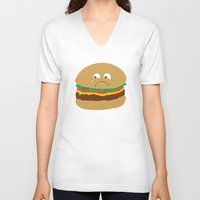 hamburger V-neck T-shirts featuring Sad Hamburger by Chris Piascik