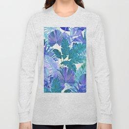 Tropical Leaf Blue Long Sleeve T-shirt