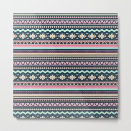 Colorful Aztec Tribal Pattern Metal Print