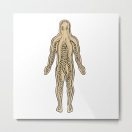 Alien Octopus Inside Human Body Drawing Metal Print