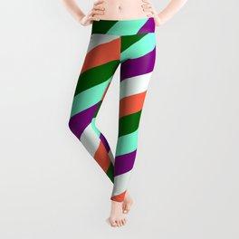 Eyecatching Aquamarine, Purple, Mint Cream, Red, and Dark Green Colored Pattern of Stripes Leggings