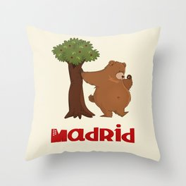 MADRID: Bear and Madrono (v.2) Throw Pillow
