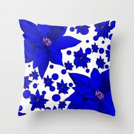 Poinsettia Blue Indigo Pattern Throw Pillow