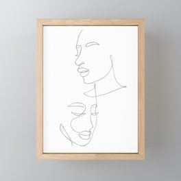Line art female faces Framed Mini Art Print
