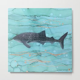 Whale Shark Swimming in the Emerald Ocean Metal Print