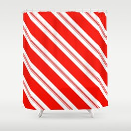 Candy Cane Stripes Holiday Pattern Shower Curtain