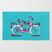 brompton Area & Throw Rugs featuring Butterfly Bicycle by Wyatt Design
