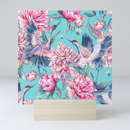 Teal peonies and birds Mini Art Print